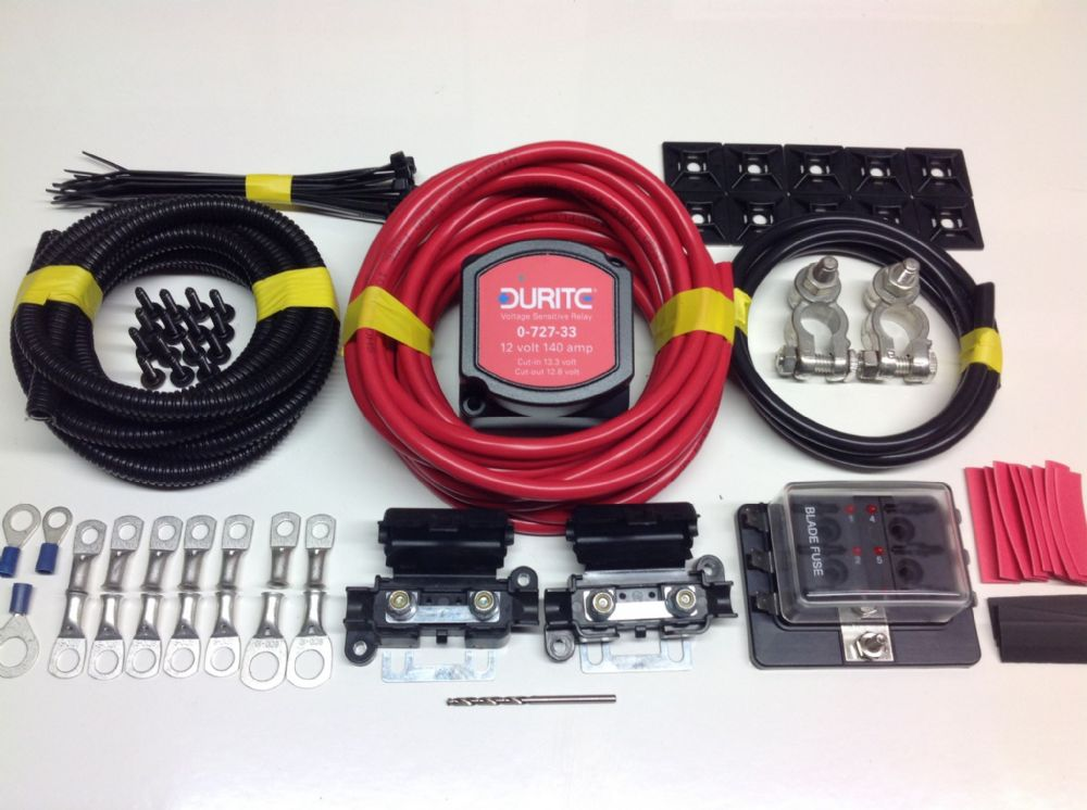 Medium Duty Pro Split Charge Kit With 12v Durite 140amp Vsr 70amp 10mm2 Cable 1